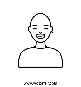 diversity people concept, cartoon young bald man smiling, line style