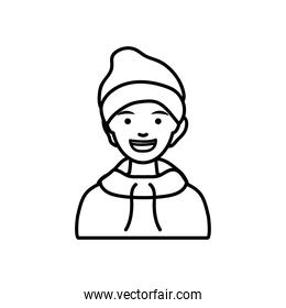 diversity people concept, cartoon man wearing a beanie hat, line style