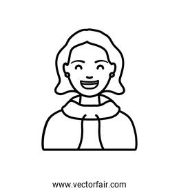diversity people concept, young woman wearing a hoodie, line style