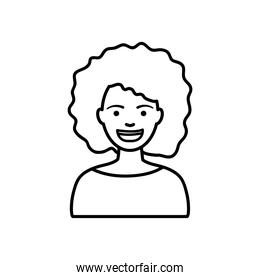 diversity people concept, cartoon girl with afro hair, line style