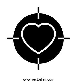 target with heart icon, silhouette style