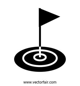 golf hole and flag icon, silhouette style