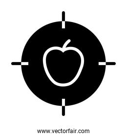 target with apple fruit icon, silhouette style