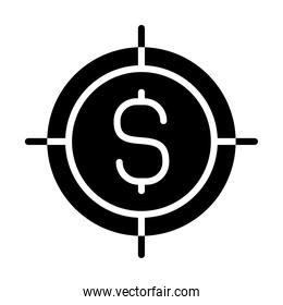 target with money symbol icon, silhouette style