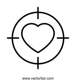 target with heart icon, line style