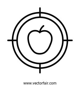 target with apple fruit icon, line style