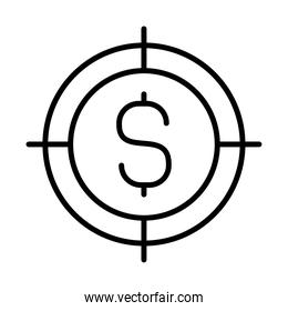 target with money symbol icon, line style
