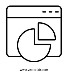 web window with graphic pie chart, line style