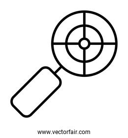 magnifying glass with crosshair icon, line style