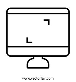 computer with square corners on screen, line style