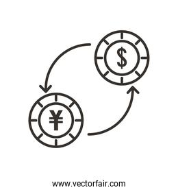 dollar and yuan coin exchange line style icon vector design