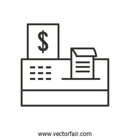cash register line style icon vector design
