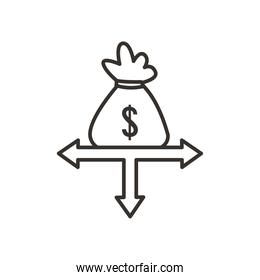 money bag and arrows line style icon vector design