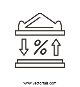bank building and percentage line style icon vector design