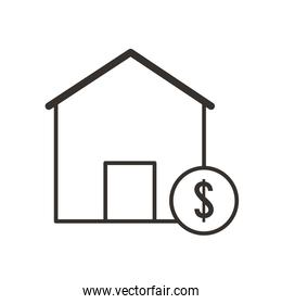 dollar coin and bank building line style icon vector design