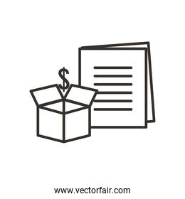 dollar over box and document line style icon vector design