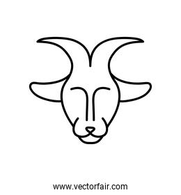 astrology concept, goat symbol of capricorn sign, line style
