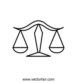 astrology concept, Libra sign and Balance Scales symbol, line style