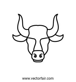astrology concept, taurus sign, the bull symbol icon, line style