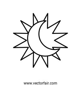astrology concept, sun and moon icon, line style