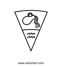 astrology concept, Water Bearer symbol of aquarius sign, line style