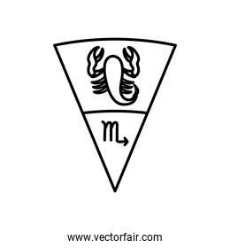 astrology concept, scorpio sign and the scorpion symbol, line style