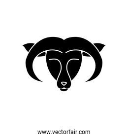 astrology concept, aries sign, the goat symbol, silhouette style