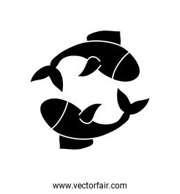 astrology concept, fishes symbol of pisces sign, silhouette style