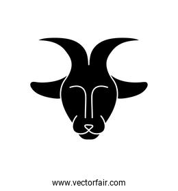 astrology concept, goat symbol of capricorn sign, silhouette style