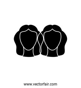 astrology concept, gemini sign, the twins Castor and Pollux, known as the Dioscuri symbol, silhouette style