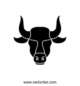 astrology concept, taurus sign, the bull symbol icon, silhouette style
