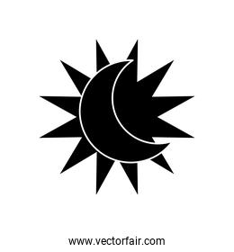 astrology concept, sun and moon icon, silhouette style