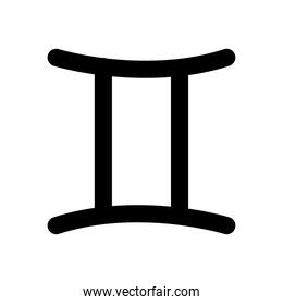 astrology concept, gemini symbol icon, silhouette style