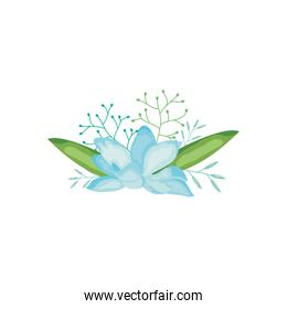 green branches and blue flower icon, detailed style