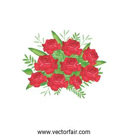 roses and leaves bouquet icon, detailed style
