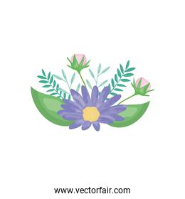 purple and pink flowers with decorative leaves, detailed style