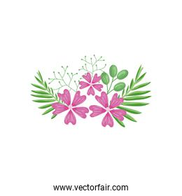 decorative pink flowers and green leaves, detailed style