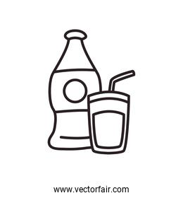 soda bottle and glass drink line style icon vector design