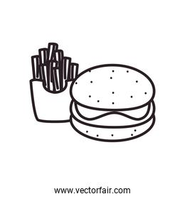 hamburger and french fries line style icon vector design