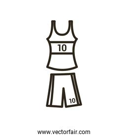 shirt and short of basketball line style icon vector design