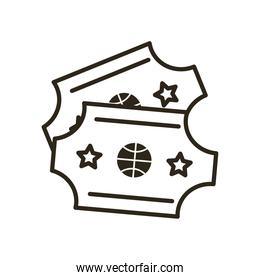 tickets of basketball line style icon vector design