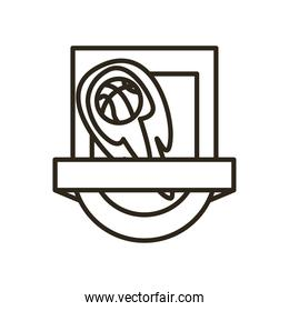 ball with flame inside shield of basketball line style icon vector design