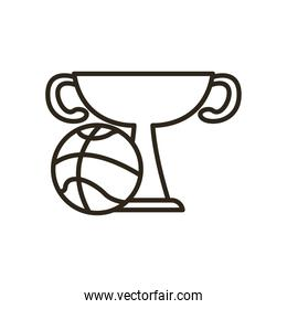 ball with trophy of basketball line style icon vector design