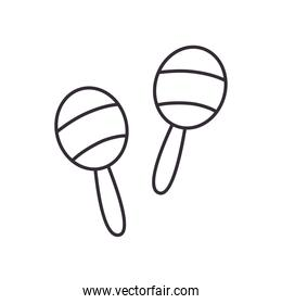 maracas instrument line style icon vector design