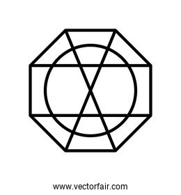 geometric octagon and circle shape icon, line style