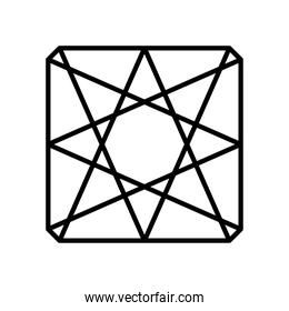 geometric square with triangular shapes icon, line style
