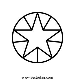 geometric star and circle shape icon, line style