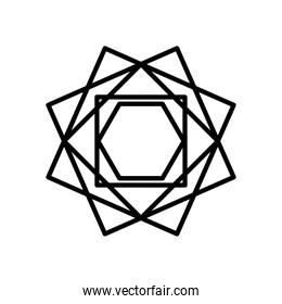 geometric squares and hexagon shape icon, line style