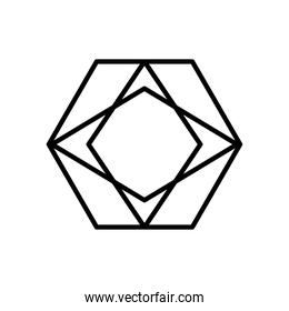 geometric hexagon with rhombus shape icon, line style