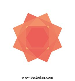 geometric squares and hexagon shape icon, flat style
